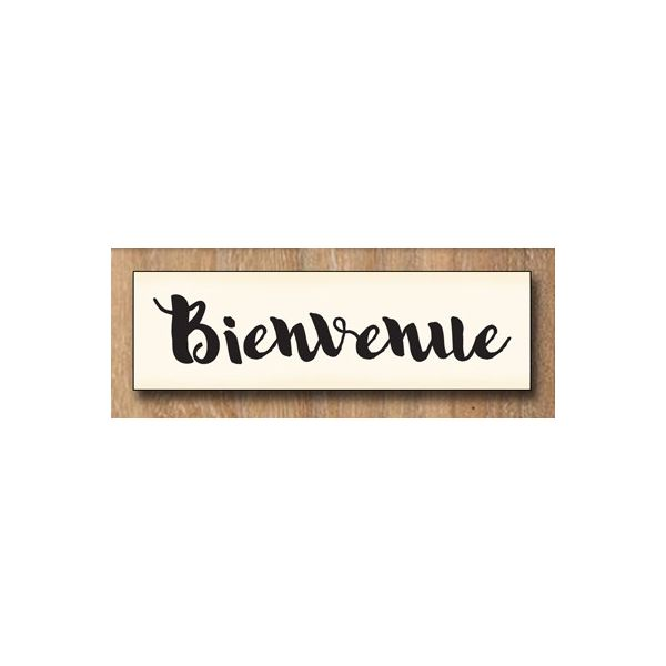Wood stamp: Bienvenue