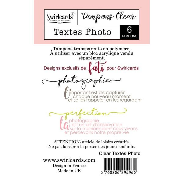 Clear stamp Textes Photo