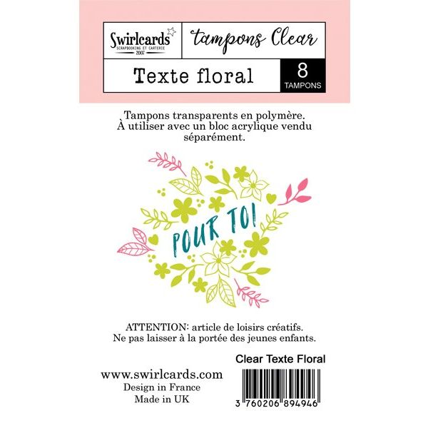 Clear stamp Texte Floral