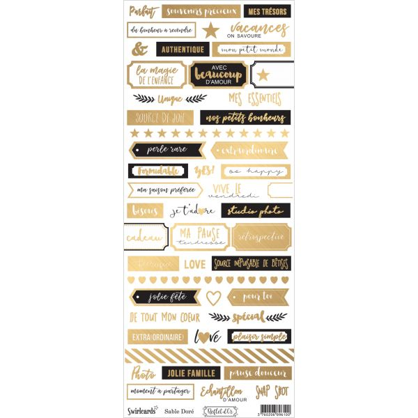 Labels sheet: Dymo Reflet d'Or Sable doré